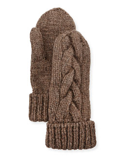 Cashmere Cable-Knit Mittens