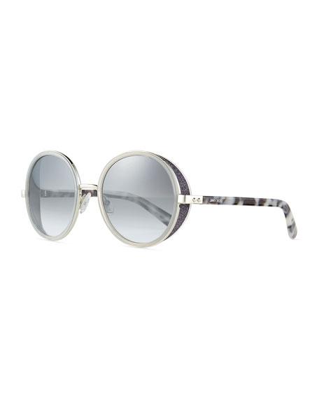 2a19b1daaad Jimmy Choo Andie Round Glitter-Trim Sunglasses