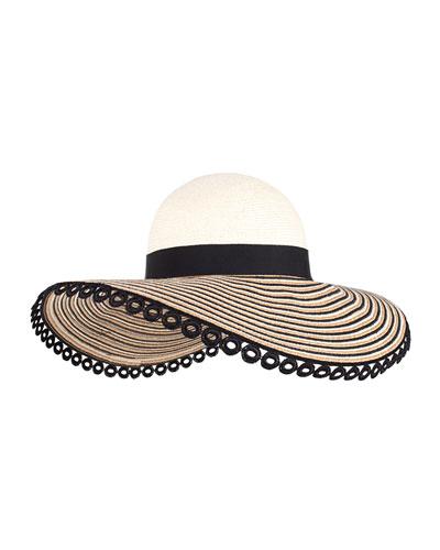 Honey Embroidered Sun Hat w/ Applique, Ivory/Camel/Black