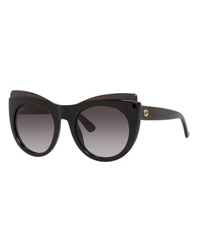 Raised-Brow Cat-Eye Sunglasses, Black
