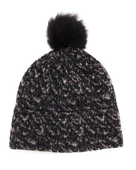 Scarlett Melange-Knit Beanie Hat, Black