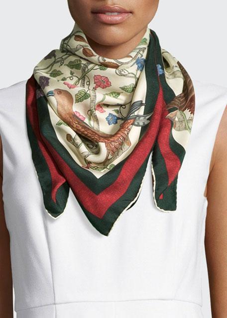 Gucci Square Silk-Twill Condor Scarf, Ivory/Green