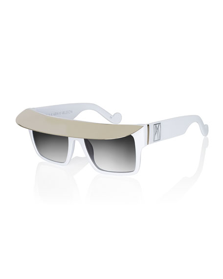 Shady Acetate Shield Sunglasses, White/Silver
