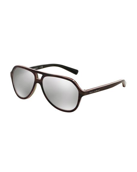 Mirrored Acetate Aviator Sunglasses