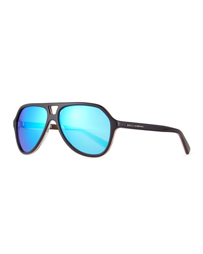 Mirrored Acetate Aviator Sunglasses