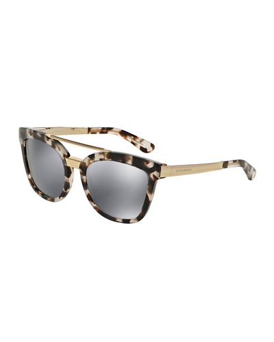 Square Mirrored Brow-Bar Sunglasses