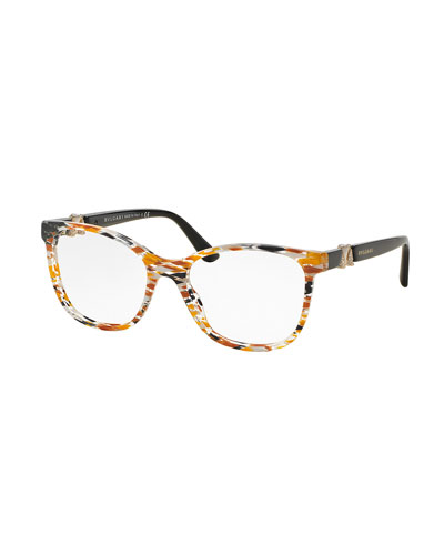 Square Optical Frames, Orange/Yellow