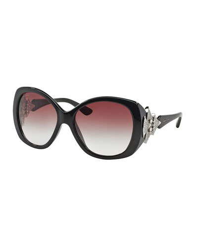 Rhinestone-Trim Acetate Butterfly Sunglasses