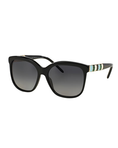 Square Rhinestone-Trim Polarized Sunglasses, Black