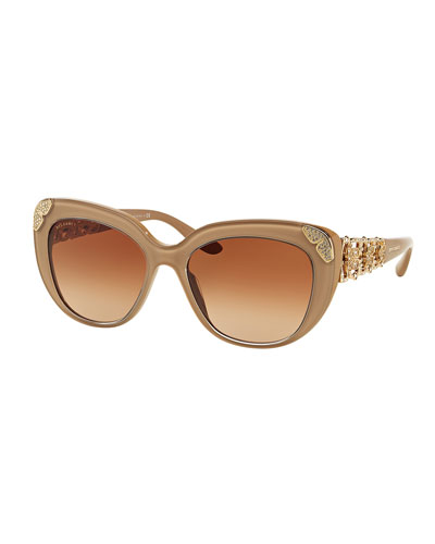 Floral-Rhinestone Gradient Cat-Eye Sunglasses