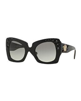 Square Studded-Temple Sunglasses