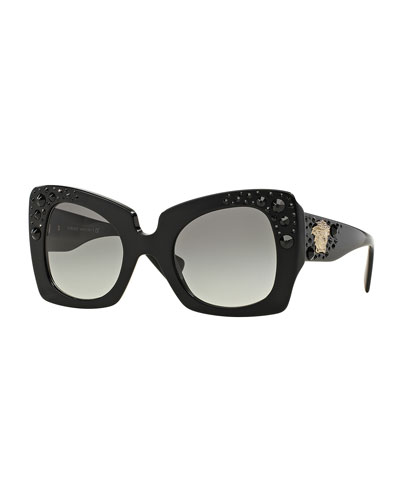 Square Studded-Temple Sunglasses