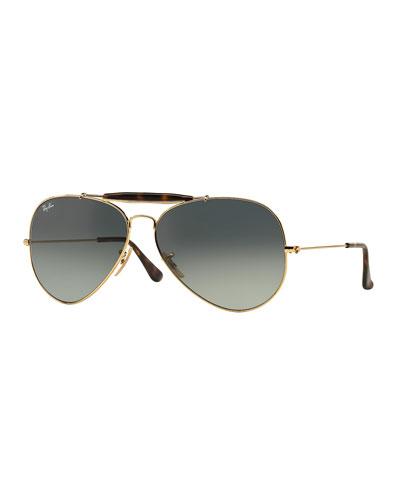 Gradient Metal Aviator Sunglasses, Gold/Gray
