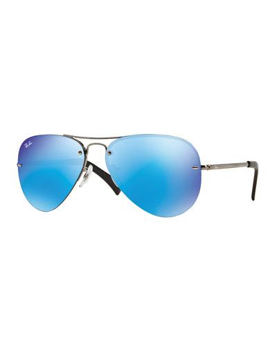 Rimless Mirrored Iridescent Aviator Sunglasses