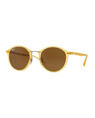 Round Plastic & Metal Sunglasses