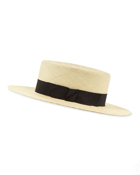 The Gloria Straw Boater Hat, Natural