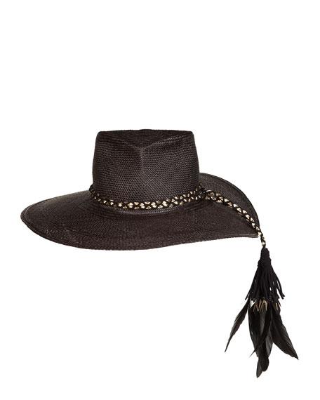 The Talitha Panama Straw Hat w/ Feathers, Black