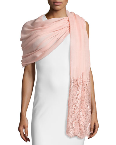 Golden Flower Lace-Trim Shawl, Powdery Rose
