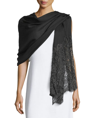 Golden Flower Lace-Trim Shawl, Black