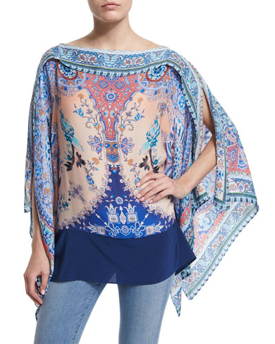 Floral Silk Poncho, Blue/Pink