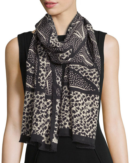 Etro Bicolor Leaf-Print Scarf, Black/Cream