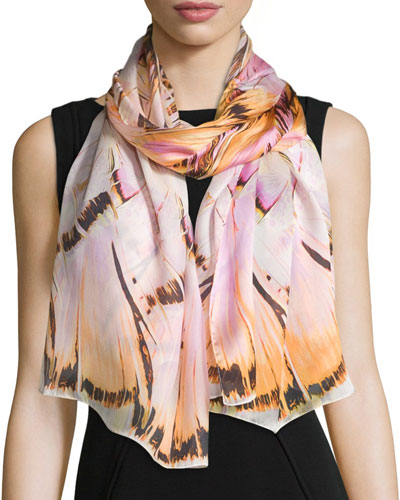 Floral Silk Stole, Blush