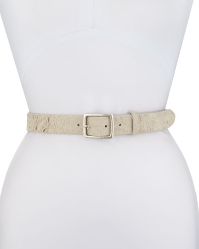 Boyfriend Distressed Leather Hip Belt, White