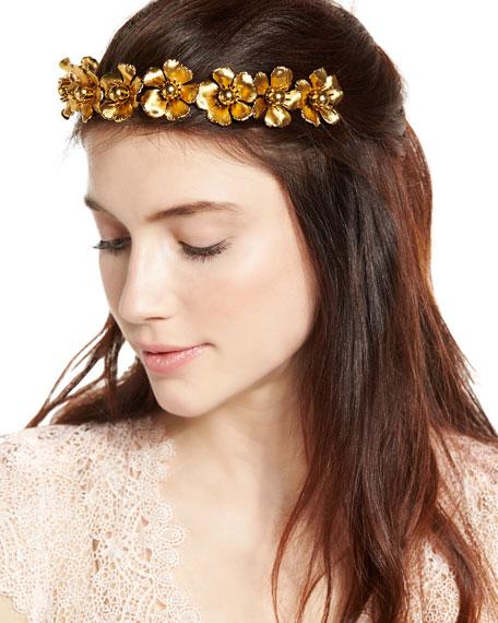 Charlotte Floral Circlet Headband, Gold