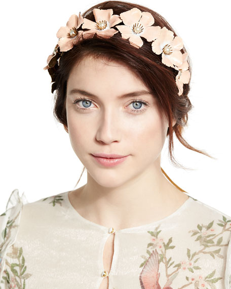 Farah Floral Circlet Headband, Gold/Blush