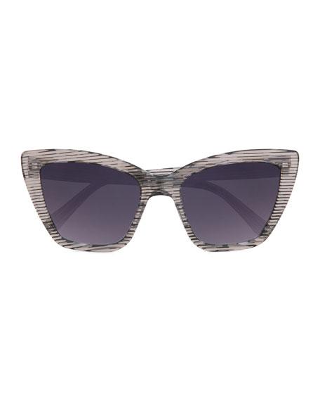 Calvi Streaked Cat-Eye Sunglasses, Black/White