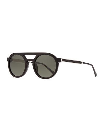 Gravity Round Monochromatic Sunglasses, Black