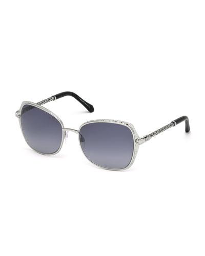 Oversize Square Sunglasses, Silver
