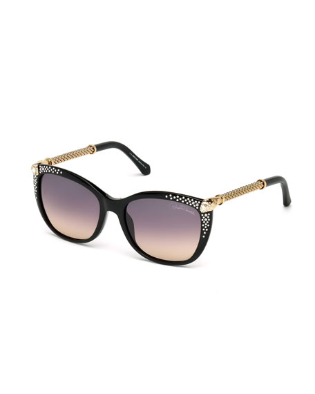 Studded Cat-Eye Sunglasses, Black