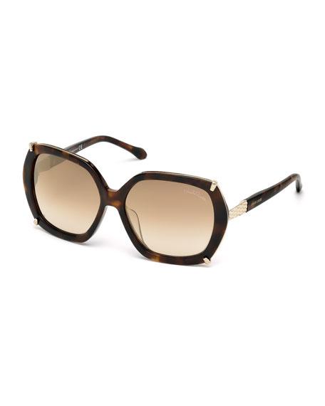 Geometric Oversize Sunglasses, Havana