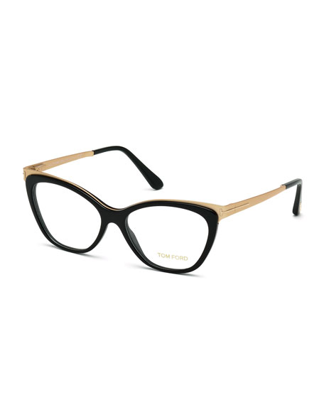 Cat-Eye Optical Frames, Shiny Black