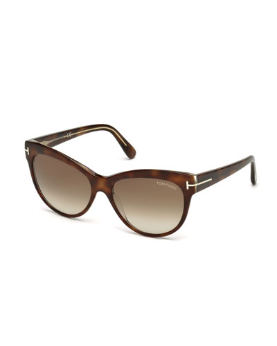 Lily Cat-Eye Sunglasses, Havana
