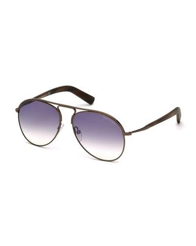 Cody Aviator Sunglasses, Dark Brown