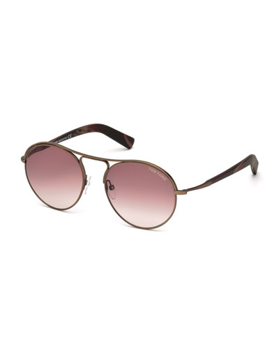 Jessie Rounded Aviator Sunglasses, Matte Brown