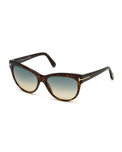 Lily Cat-Eye Sunglasses, Dark Havana