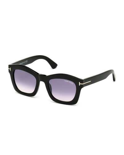 Greta Square Sunglasses, Shiny Black