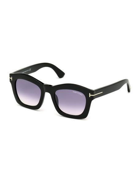 Greta Square Sunglasses, Shiny Black