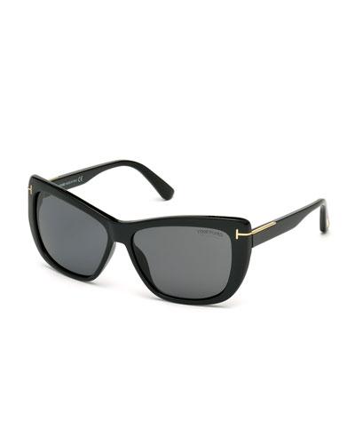 Lindsay Polarized Cat-Eye Sunglasses, Black