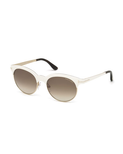 Angela Square Sunglasses, Ivory/Rose Gold