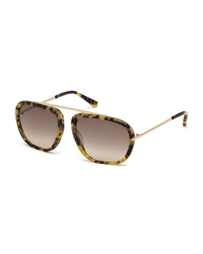 Johnson Squared Aviator Sunglasses, Matte Tortoise