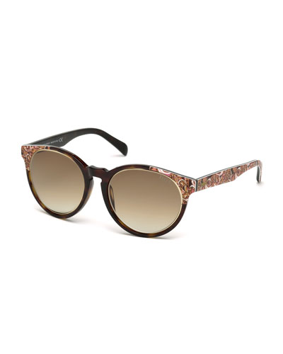 Printed Square Sunglasses, Havana