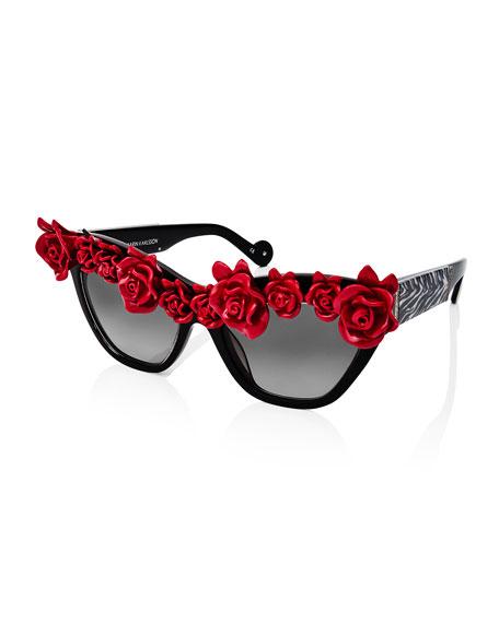 'Cause I Flippin' Can Rosette Cat-Eye Sunglasses, Black/White