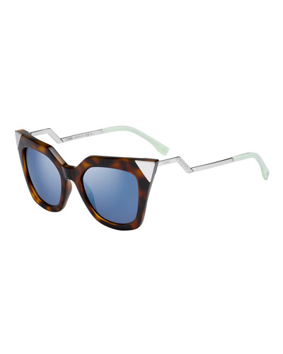 Iridia Mirror-Tip Cat-Eye Sunglasses, Havana
