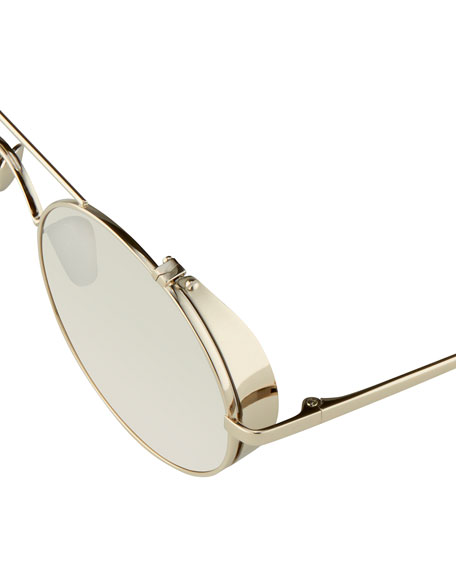 Round Brow-Bar Sunglasses, White Gold