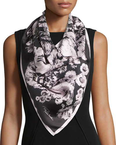 Astro Garden Silk Twill Scarf, Black/Rose
