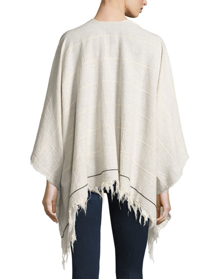 Summer Stripe Cotton Open-Front Poncho, Light Gray